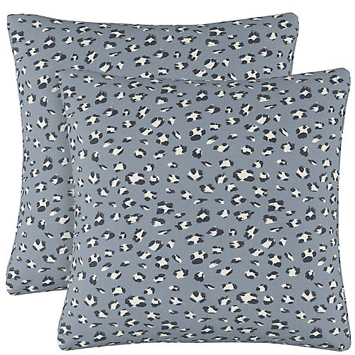 S/2 Raanan Cheetah Pillows, Blue Cheetah Linen