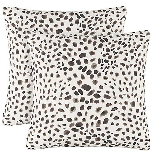 S/2 Saibh Cheetah Pillows, Cream/Black Linen