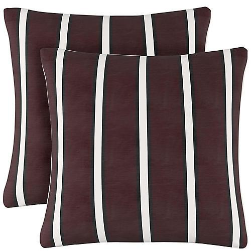 S/2 Laurel Stripe Pillows, Raisin Linen