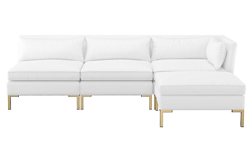 Marceau Reversible Sectional, White Cotton Twill