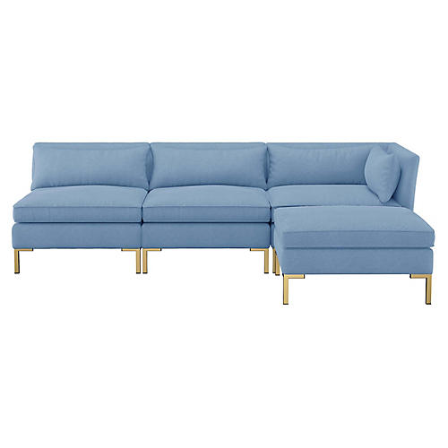 Marceau Reversible Sectional, French Blue Linen