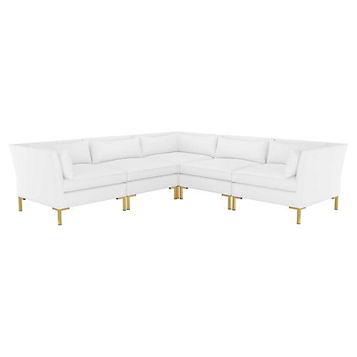 Marceau L-Shaped Sectional, White Cotton Twill