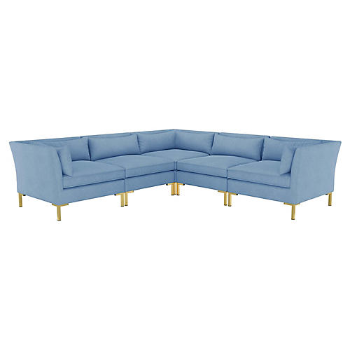 Marceau L-Shaped Sectional, French Blue Linen
