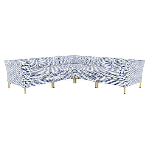 Marceau L-Shaped Sectional, Navy Dot