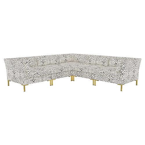 Marceau L-Shaped Sectional, Cream/Gray Cheetah Linen