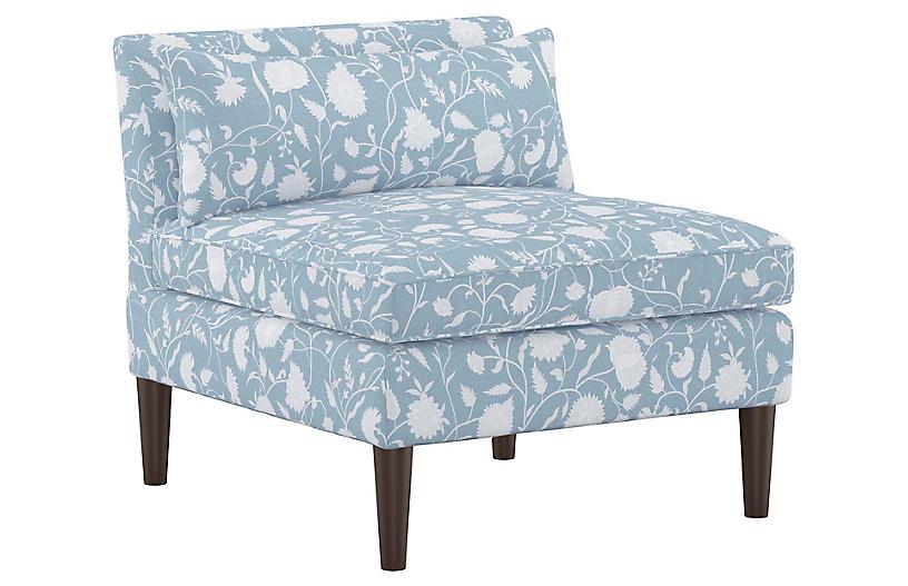 Marlee Slipper Chair, Floral Sky