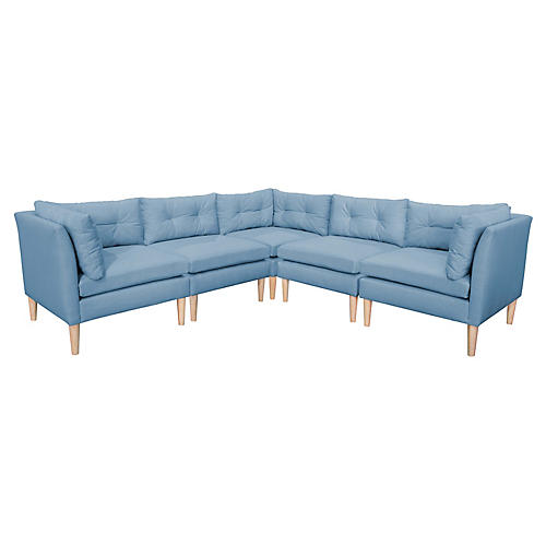 Madeline L-Shaped Sectional, French Blue Linen