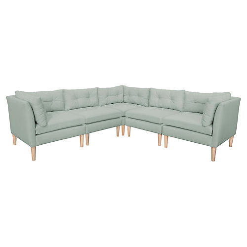 Madeline L-Shaped Sectional, Mint Linen