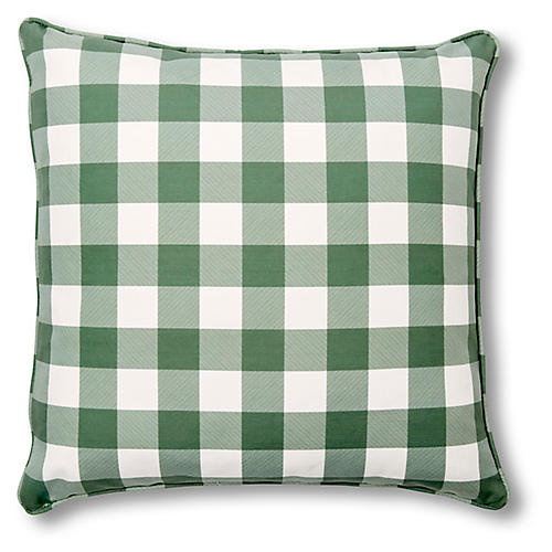 Classic Gingham 20x20 Pillow, Evergreen Linen