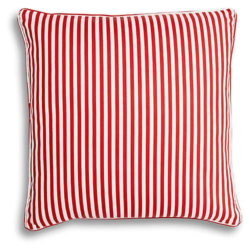 Candy Stripe 20x20 Pillow, Red Linen