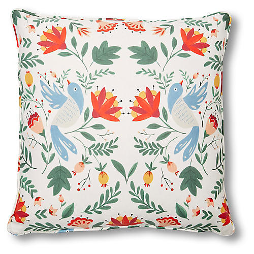 Nordic Bird 20x20 Pillow, Blue Linen