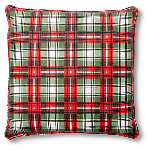 Nicolas Plaid 20x20 Pillow, Red/Green Linen