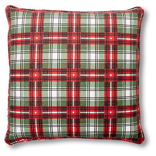 Nicolas Plaid 20x20 Pillow, Red/Green Linen