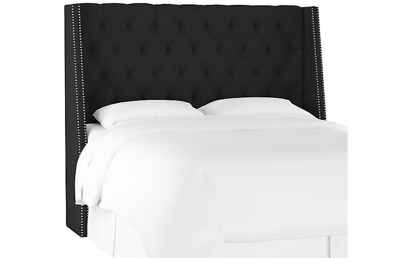 Sophia Wingback Headboard, Black Linen
