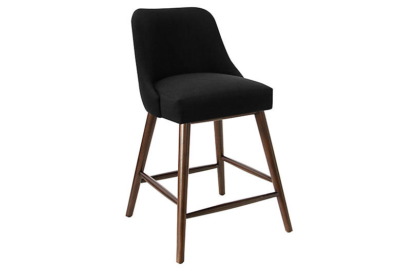 Barron Counter Stool, Black Linen