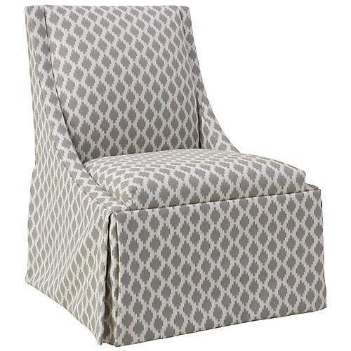 Jody Skirted Swoop-Arm Side Chair, Beige