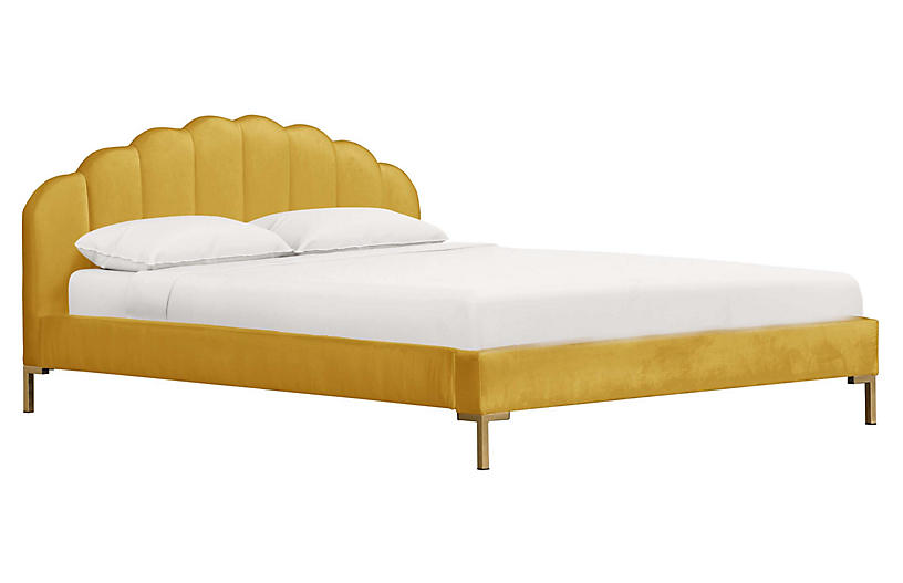 Isabella Platform Bed, Mustard Velvet