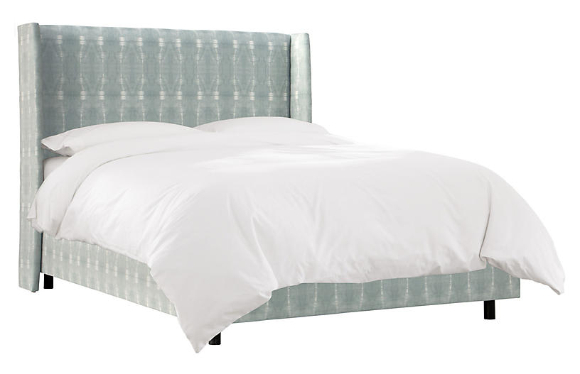 Kelly Wingback Bed, Mist/White