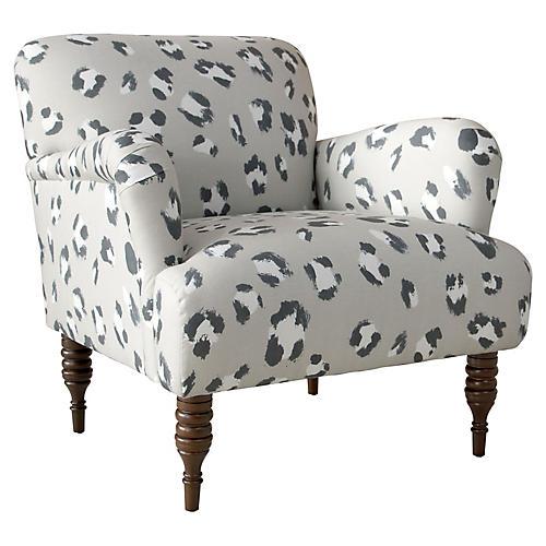 Nicolette Accent Chair, Gray Cheetah