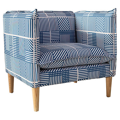 Bryce Club Chair, Navy/Blush Stripe