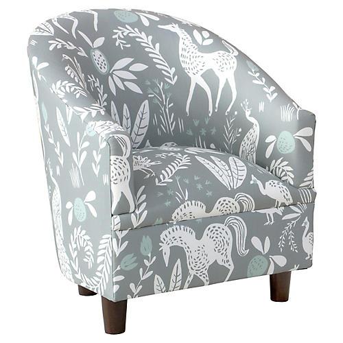 Ashlee Kids' Barrel Chair, Mint Frolic