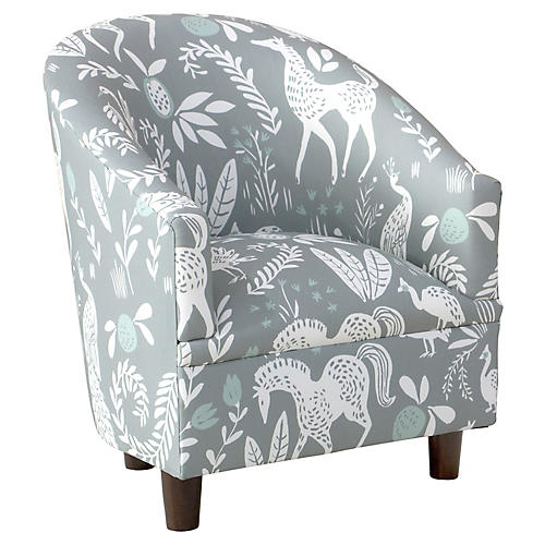 Ashlee Kids' Barrel Chair, Mint Frolic