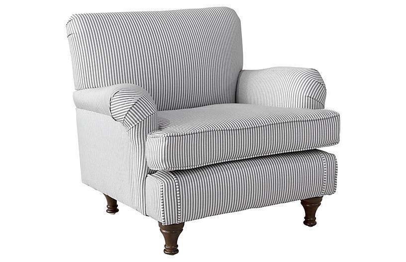 Jack Kids' Chair, Gray/White Stripe