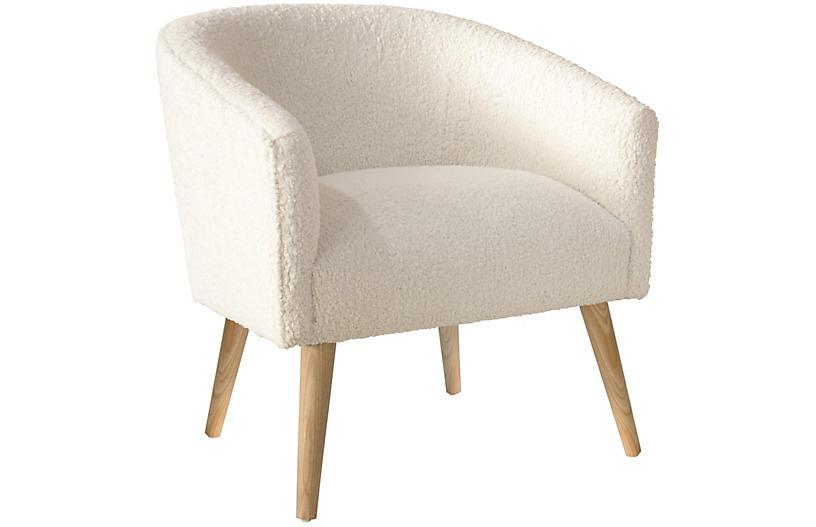 Leah Barrel Chair Talc One Kings Lane