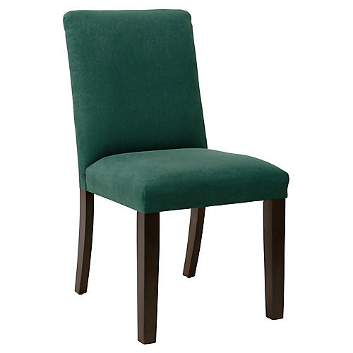 Lisa Tufted Side Chair, Forest Green