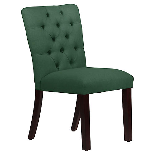 Kim Tufted Side Chair, Forest Green