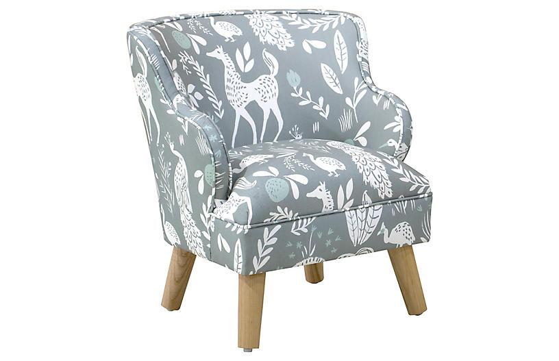 Kira Kids' Accent Chair, Mint Frolic