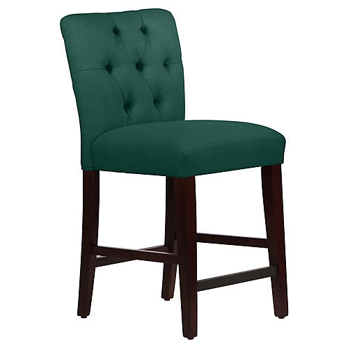 Kim Tufted Counter Stool, Forest Green Linen