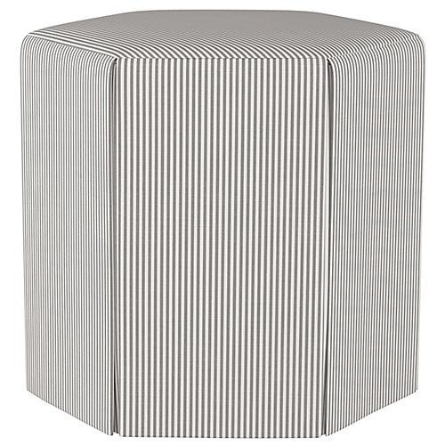 Savannah Ottoman, Gray/White Stripe