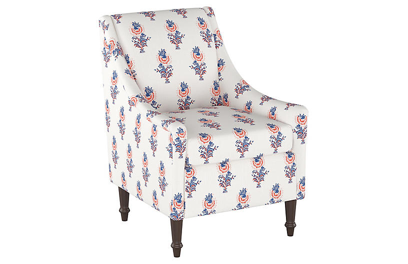 Desert Flower Accent Chair, Lapis/Coral