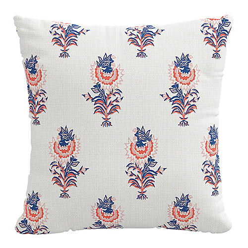 Desert Flower 20x20 Pillow, Lapis/Coral