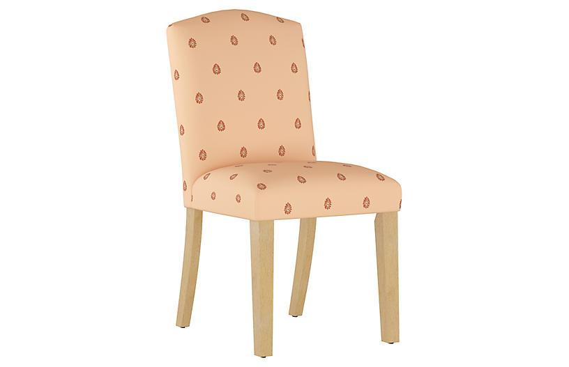 Mariposa Camelback Side Chair, Peach