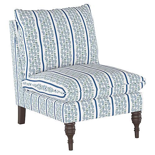 Agave Stripe Slipper Chair, Indigo