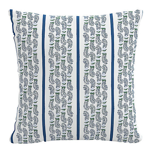 Agave Stripe 20x20 Pillow, Indigo