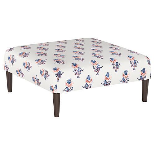 Desert Flower Cocktail Ottoman, Lapis/Coral