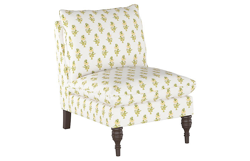 Desert Flower Slipper Chair, Spring Green