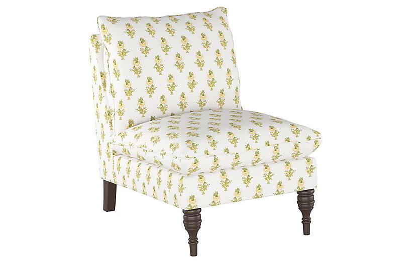 Desert Flower Slipper Chair, Spring Green