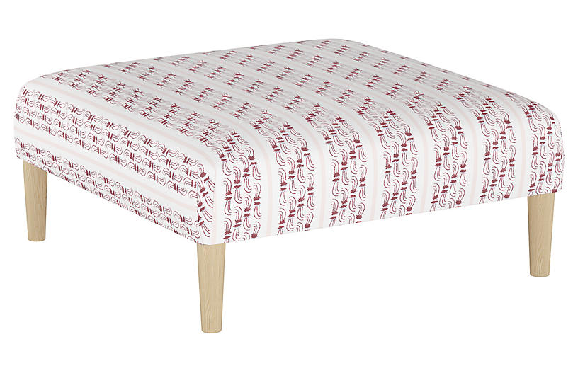 Agave Stripe Cocktail Ottoman, Berry