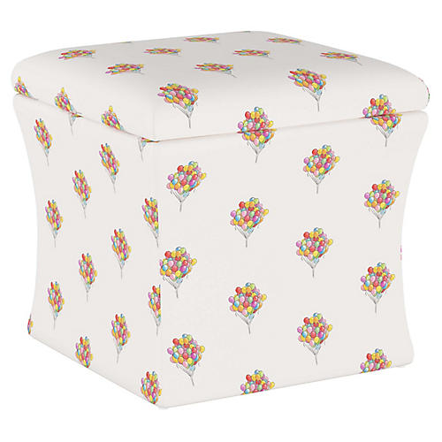 Balloon Bouquet Storage Ottoman, White/Multi