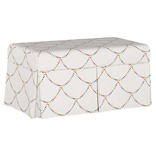 Bunting Scallop Storage Bench, White/Multi