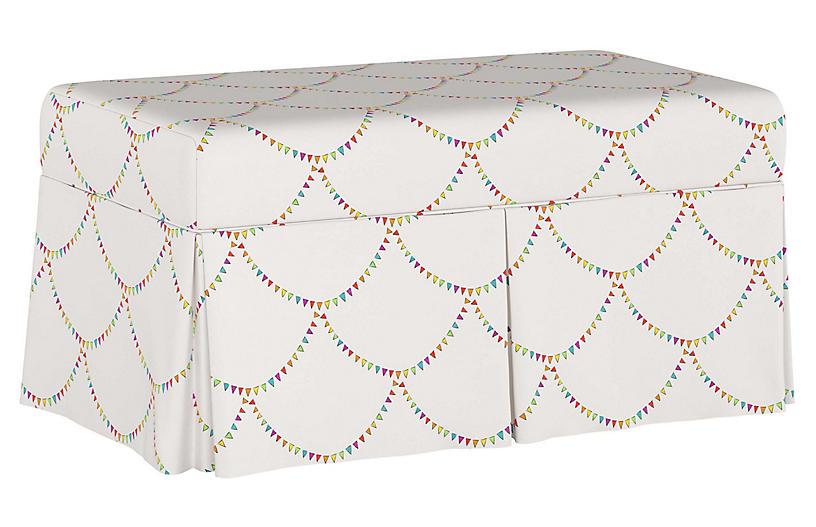 Bunting Scallop Storage Bench, White/Multi
