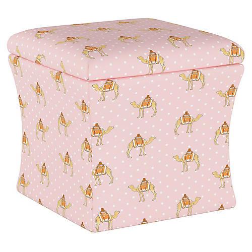 Camel Dot Storage Ottoman, Pink