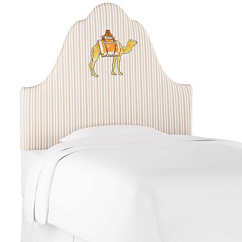 Camel Stripe Headboard, English Tan