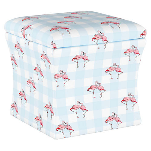 Flamingo Gingham Storage Ottoman, Blue
