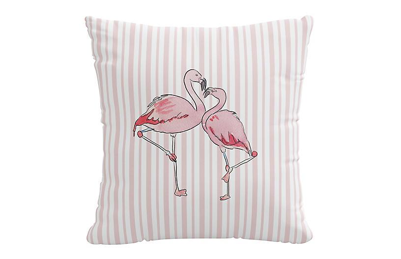 Flamingo Stripe 20x20 Pillow, English Pink