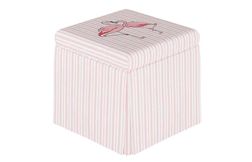 Flamingo Stripe Storage Ottoman, English Pink